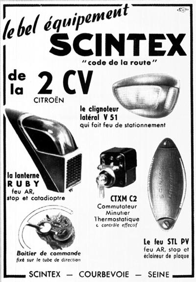 SCINTEX clignoteur lanterne feu sur 2cv