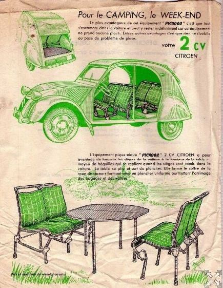 camping week end 2cv tables chaises