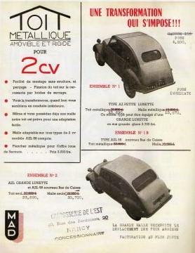 toit métallique amovible et rigide 2cv MAD