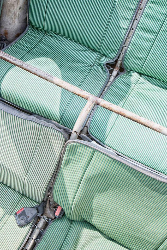 garnitures sieges tissu bayadere vert 2cv