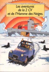 les aventures de la 2CV et de l'homme des neiges tintin