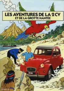 les aventures de la 2cv et de la grotte hantée tintin