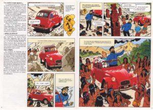 les aventures de la 2cv et de la grotte publicite tintin