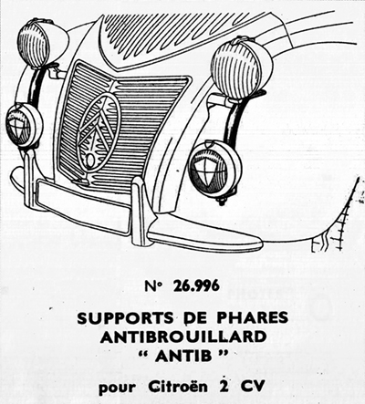 support de phare antibrouillard 2cv