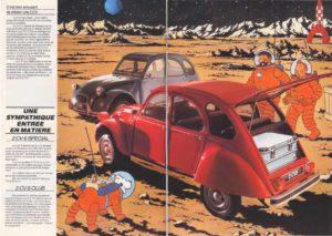 voyage sur la planete terre 2cv tintin pub