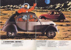 voyage sur la planete terre 2cv tintin publicite