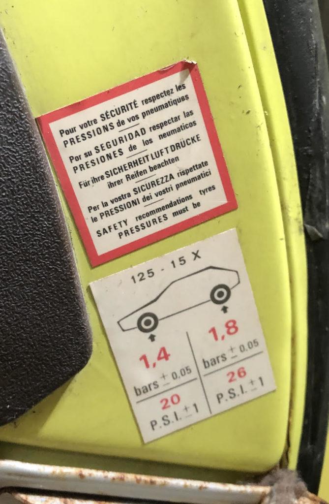 pression pneus 2cv etiquette interieure origine