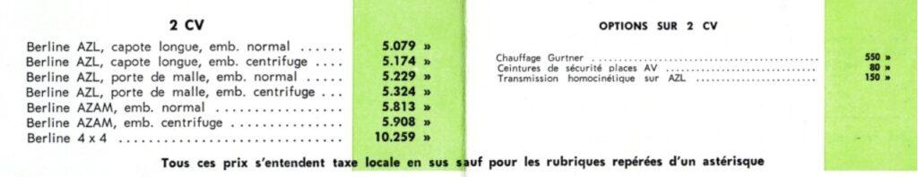 tarif 2cv 1965 - 1966